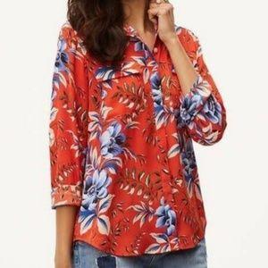 LOFT Red Floral Button Boho Blouse Large